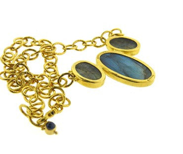 thumbnail image of Gurhan 24k Gold Labradorite and Sapphire Pendant Necklace