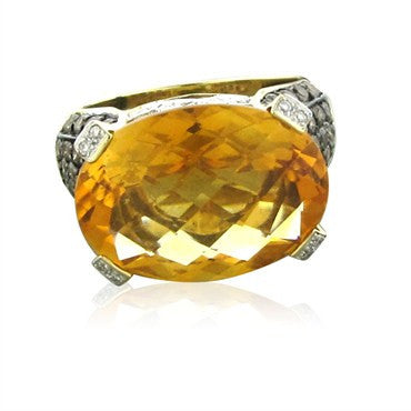 thumbnail image of New Levian 14K Yellow Gold 1.83ctw Diamond 10ct Citrine Ring
