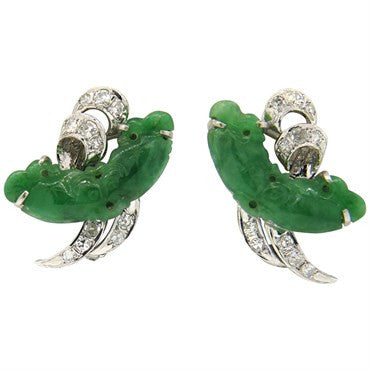 thumbnail image of Fine Carved Jade Diamond 14k Gold Earrings