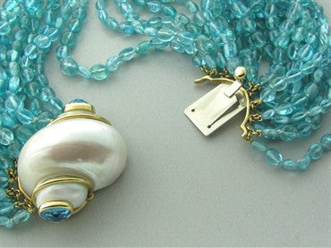 thumbnail image of Seaman Schepps 18K Gold Seashell Aquamarine Multi Strand Necklace