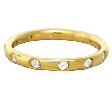 image of New Pomellato Lucciole 18k Yellow Gold Diamond Band Ring Size 53