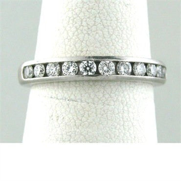image of Estate Tiffany & Co Platinum Diamond Wedding Band Ring
