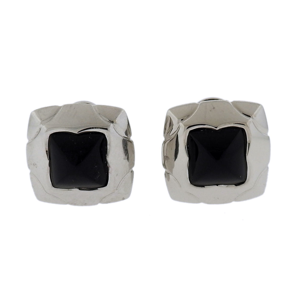 thumbnail image of Bvlgari Bulgari Piramide Onyx 18k Gold Earrings
