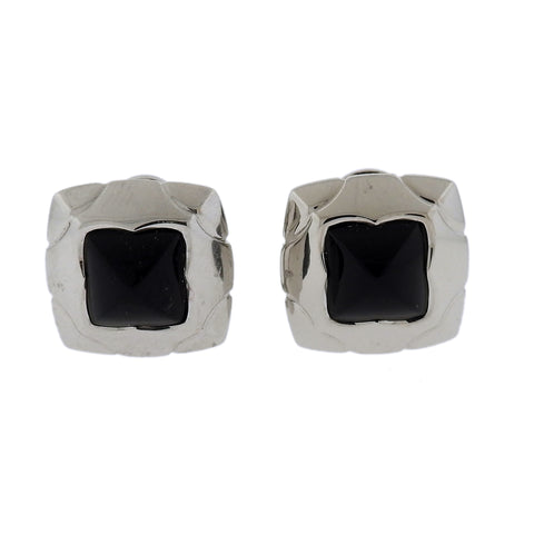 image of Bvlgari Bulgari Piramide Onyx 18k Gold Earrings