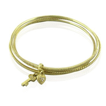 image of Judith Ripka 18k Charm Diamond Tri Bangle Bracelet