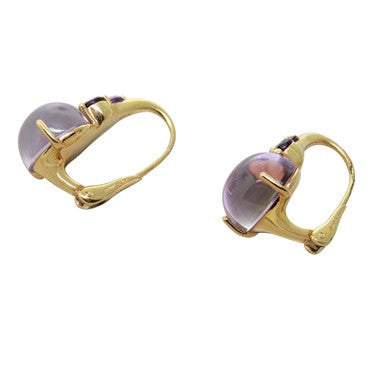 image of New Pomellato Luna 18k Gold Rose Quartz Amethyst Earrings
