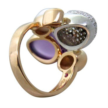 image of Roberto Coin Amethyst Diamond Gold Gemstone Ring