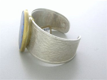 thumbnail image of New Gurhan Sterling Silver 24K Yellow Gold Paua Shell Cuff Bracelet