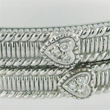 image of Judith Ripka 18k Gold Diamond Bangle Bracelets Pair Set