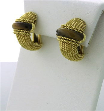 thumbnail image of Roberto Coin 18k Gold Tiger Eye Earrings