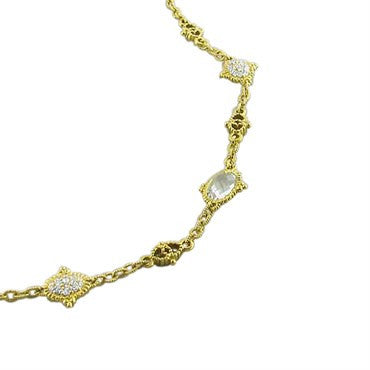 thumbnail image of Judith Ripka 18k Gold Green Quartz 2ctw Diamond Necklace