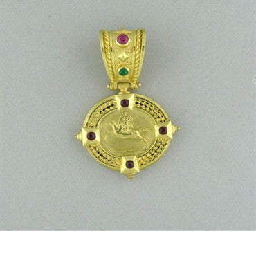 thumbnail image of Estate Seidengang Athena 18k Gold Ruby Emerald Pendant