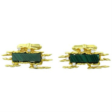image of David Morris 1970s Malachite Diamond Gold Cufflinks