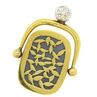 image of Unusual Artisanal Diamond 18k Gold Mirror Fob Pendant