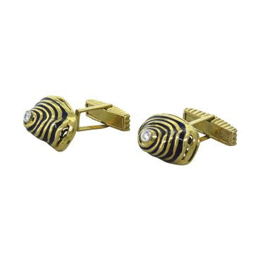 image of Unusual 18k Gold Blue Enamel Diamond Cufflinks