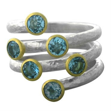 thumbnail image of New Gurhan Skittles 24K Gold Sterling Silver Blue Topaz Ring