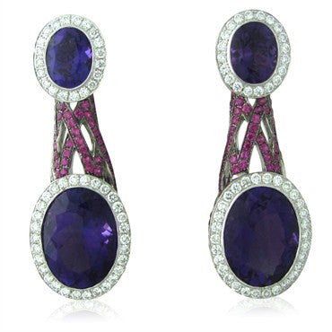 image of Asprey 18K Gold 2.02ct Diamond 15.66ct Amethyst Sapphire Earrings