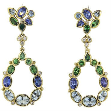 thumbnail image of Temple St. Clair Anima Diamond Gemstone 18k Gold Earrings