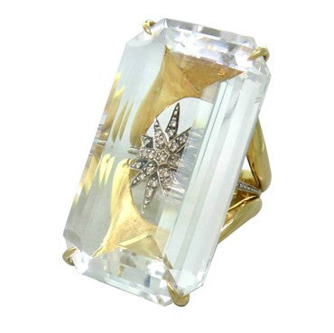 thumbnail image of H Stern Cobblestone 18k Gold Crystal Diamond Star Ring
