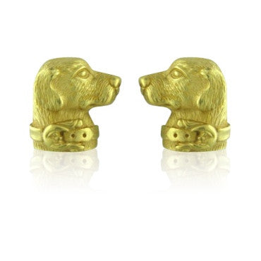 image of Estate Kieselstein Cord 18k Gold Dog Earrings 20.2g
