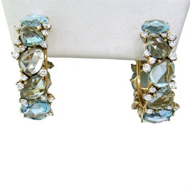 image of New Pomellato Lulu 18k Gold Diamond Blue Topaz Hoop Earrings