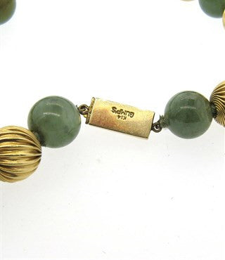 thumbnail image of Gumps Jade Bead 14k Gold Necklace