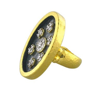 thumbnail image of New Gurhan 24k Gold Blackened Silver Diamond Ring