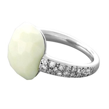 thumbnail image of New Pomellato Capri 18k Gold Diamond White Onyx Ring