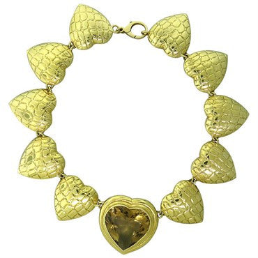 image of Gucci Citrine 18K Gold Large Heart Link Necklace