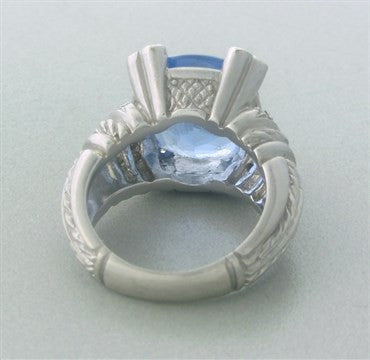 image of Judith Ripka Lola 18K Gold Diamond Blue Quartz Ring