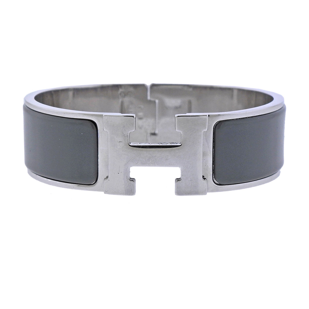 thumbnail image of Hermes Clic Clac Grey Enamel Bangle Bracelet