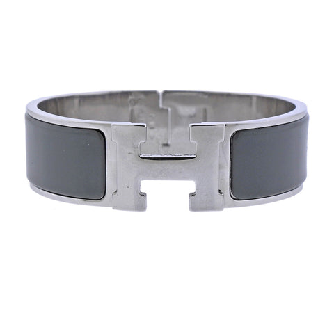 image of Hermes Clic Clac Grey Enamel Bangle Bracelet