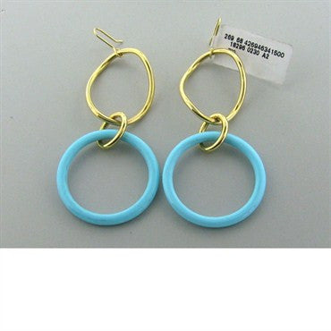 thumbnail image of New Faraone Mennella 18k Gold Turquoise Earrings