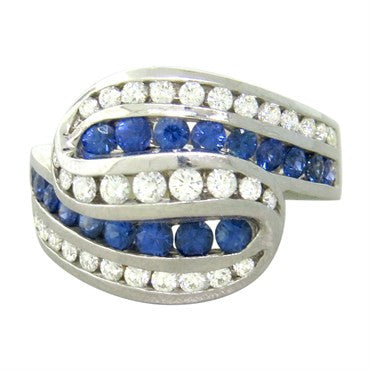 image of Charles Krypell 18k Gold Diamond Sapphire Ring