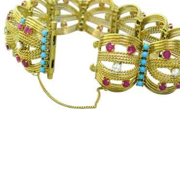 thumbnail image of Spritzer and Furman Turquoise Ruby Diamond Gold Bracelet