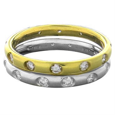 image of New Pomellato Lucciole 18k Gold Diamond Stackable Band Ring Set of 2