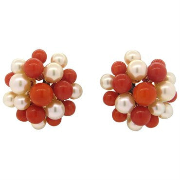image of Beautiful Red Coral Pearl 18k Gold Earrings