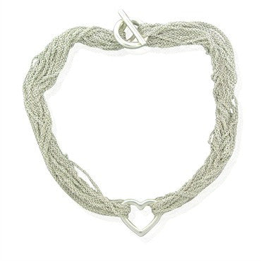 image of Estate Tiffany & Co Sterling Silver Heart Pendant Mesh Necklace