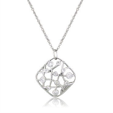 thumbnail image of New Hearts On Fire Brocade 18K White Gold Diamond Pendant Necklace