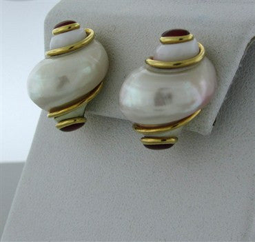 thumbnail image of Estate Seaman Schepps 18K Gold Seashell Garnet Cabochon Earrings