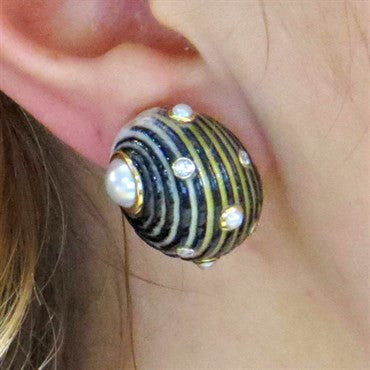thumbnail image of Century Shell Diamond and Pearl Gold Earrings
