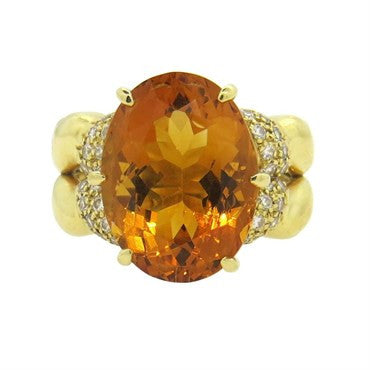 image of Kaufmann de Suisse Double Flow Citrine Diamond 18k Gold Ring