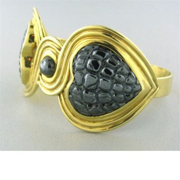 thumbnail image of Estate Gucci 18k Gold Hematite Heart Cuff Bracelet