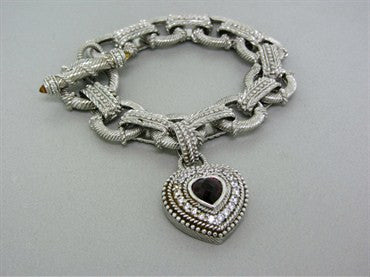 image of Judith Ripka Sterling Silver CZ Gemstone Heart Charm Toggle Bracelet