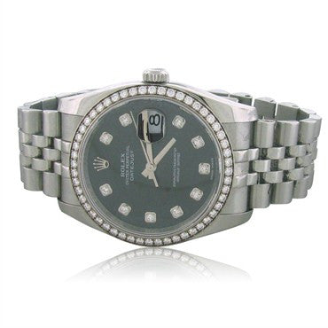 image of Rolex Datejust Factory Diamond Dial Bezel Watch Box Papers Ref 116244