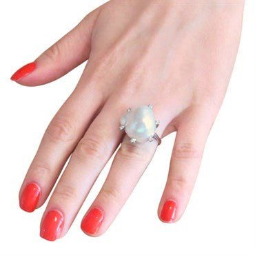 image of Antique South Sea Baroque Pearl Diamond Platinum Ring