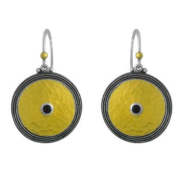 thumbnail image of Gurhan 24K Gold Sterling Silver Black Sapphire Circle Drop Earring