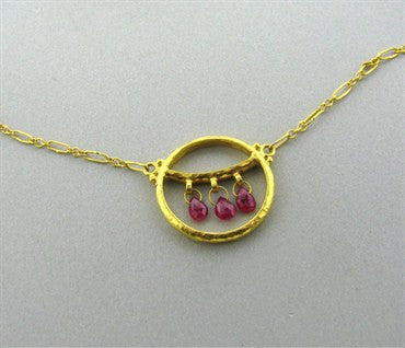 thumbnail image of New Gurhan 24K Gold 0.80ctw Ruby Necklace