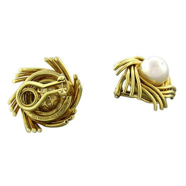 thumbnail image of Tiffany & Co Jean Schlumberger 18K Yellow Gold Pearl Earrings