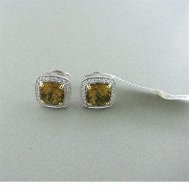 image of Krypell Sterling 14k Gold Brown Quartz Diamond Earrings